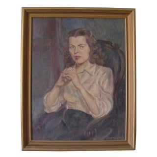 Vintage 40s Framed Oil Portrait - Signed & Dated