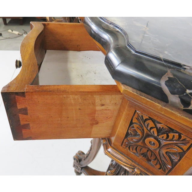 Marbletop Carved Mahogany Console - Image 5 of 8
