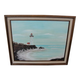 Vintage Beachscape Oil on Canvas Painting