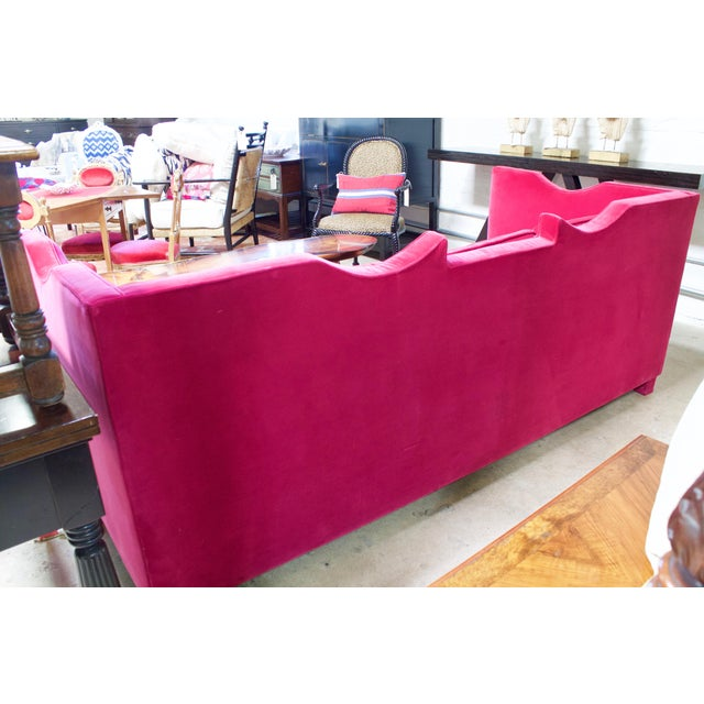 Deep Pink Velvet Sofa - Image 4 of 5