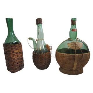 Italian Glass Demijohns - Set of 3