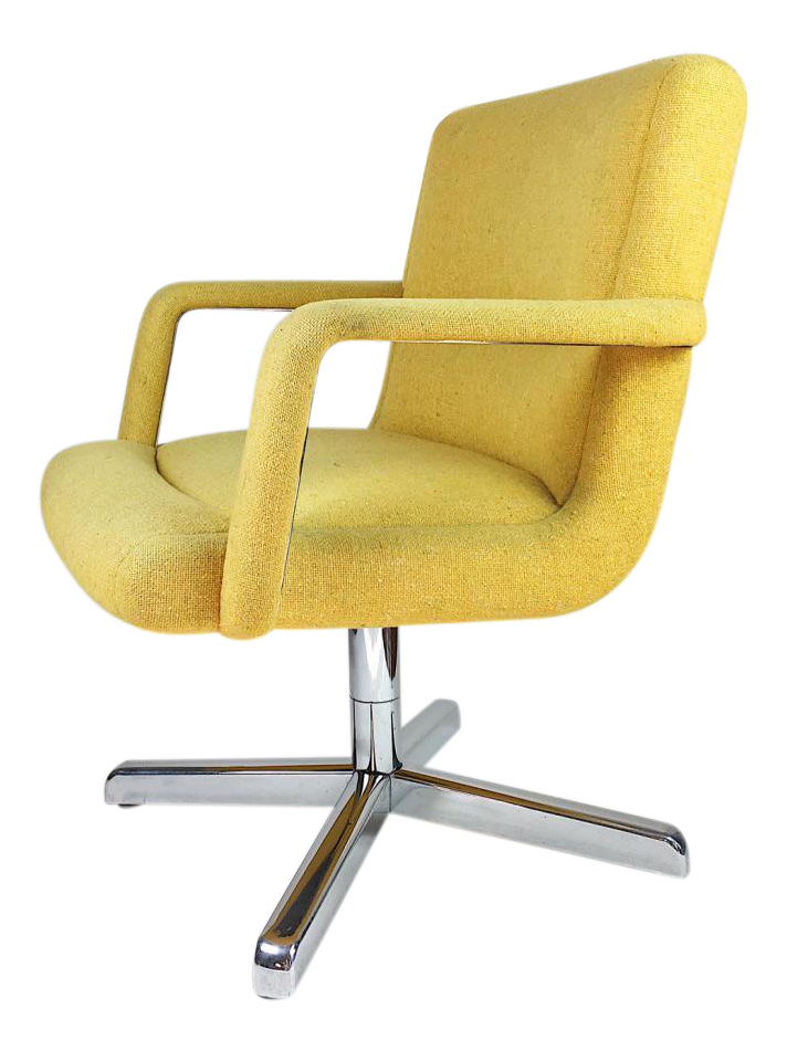 office chair vintage. vintage chrome and yellow tweed office chair