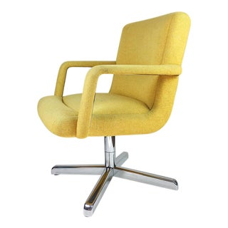 Vintage Chrome and Yellow Tweed Office Chair