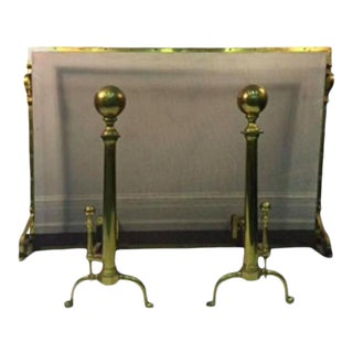 Brass Fireplace Screen With Andirons - Set of 3