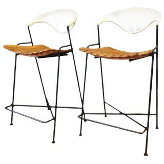 Pair of Arthur Umanoff Iron and Birch Bar Stools for Raymor