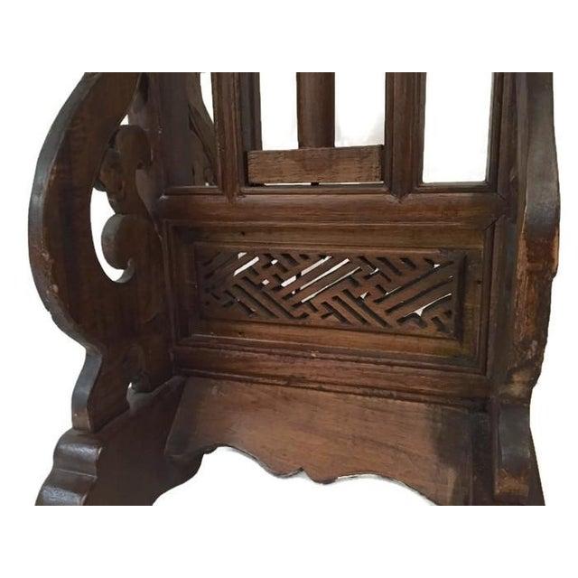 Vintage Carved Wood Lotus Lamp - Image 8 of 9