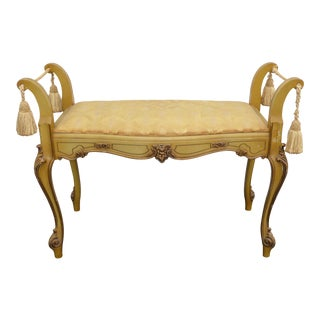 French Provincial Rococo Style Gold Carved Wood Bench With Tassels 1936