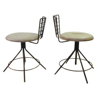 Industrial Iron Metal Stools - A Pair