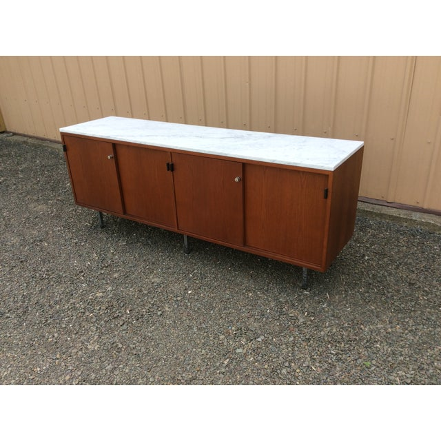Florence Knoll Walnut Carrara Marble Credenza - Image 2 of 8
