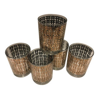 Vintage Georges Briard Mid-Century Gold & Black Basketweave Glasses- Set of 5