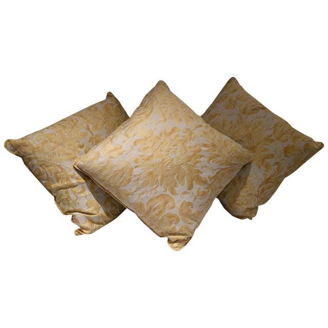 Custom Italian Gold Damask Silk Pillows - Set of 3 - Image 1 of 11