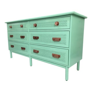 Hollywood Regency Bamboo and Rattan Cane Front Dresser
