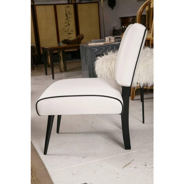Mid-Century Modern Slipper Lounge Chair in White Vinyl - Image 6 of 9