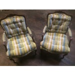 Image of Vintage Striped Upholstered Chairs - A Pair
