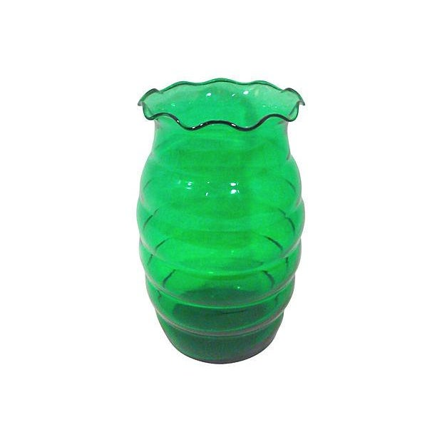 Art Deco Emerald Green Glass Vase Chairish