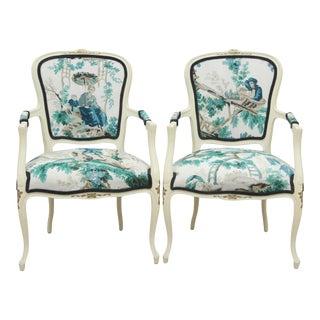 Louis XV Style Plaisirs Armchairs - a Pair