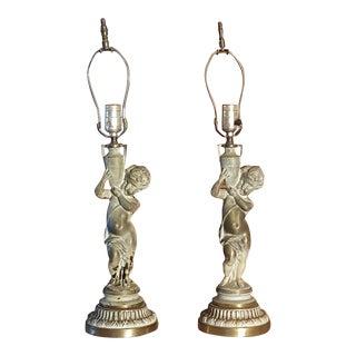 19th C French Patinated Bronze Cherub Lamps - Pair