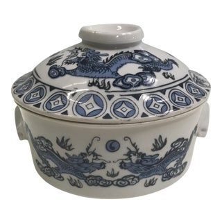 Blue & White Dragon Vessel With Lid
