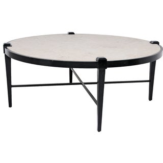 Round Metal & Stone Cocktail Table