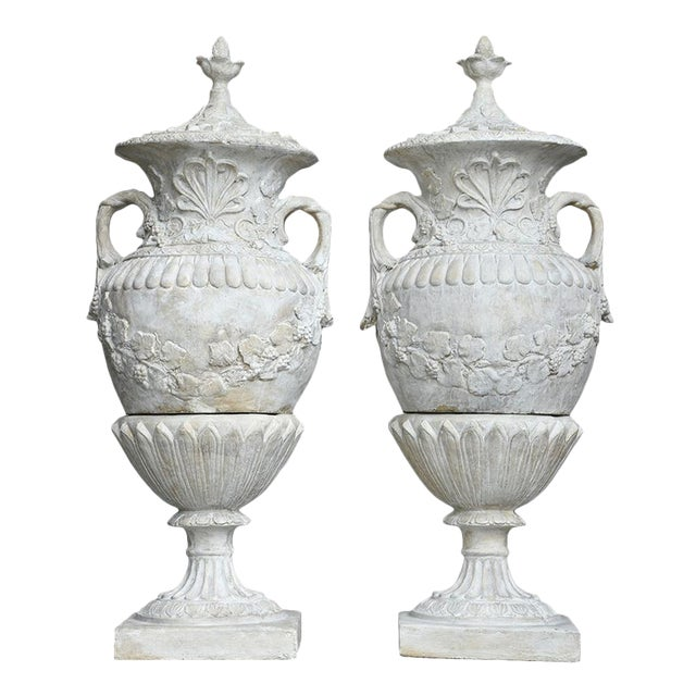 Pair of Grand Neoclassical-style Patio Urns - Image 1 of 10