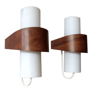 Pair of Opaque Glass Cylinder Teak Wrapped Philips Wall Lights Nx40