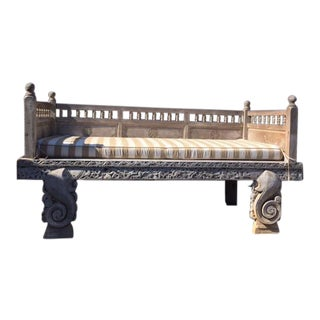 Moroccan Carved Wood Daybed