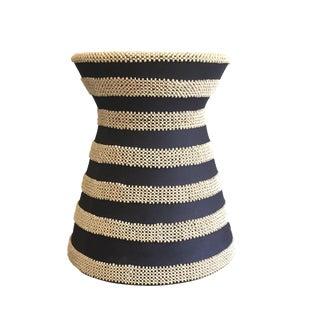 Cocoa Bead & Navy Fabric Hourglass Stool