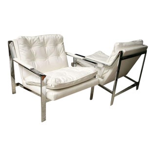 Pair of Cy Mann Polished Chrome Cube Chairs