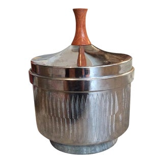 Mid-Century Steel & Teak Ice Bucket
