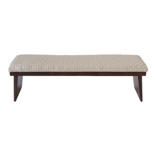 Walnut Bench with Woven Leather Seat