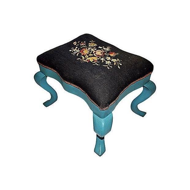 Antique Needlepoint Footstool - Image 1 of 5