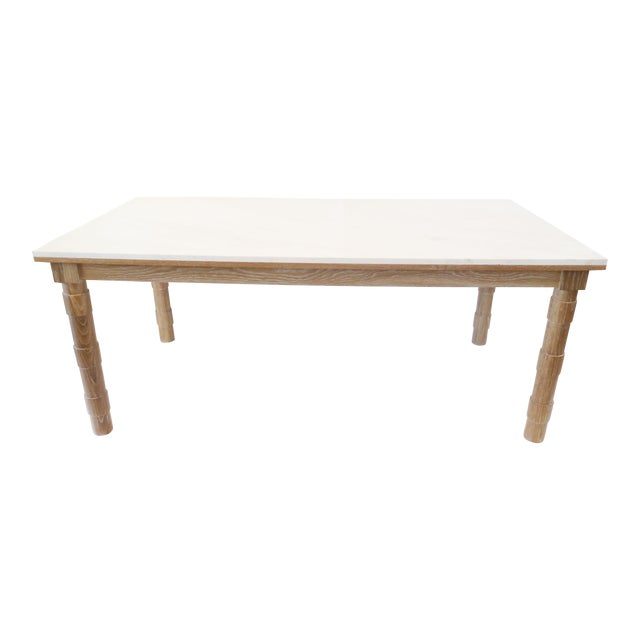 Custom Cersued Oak & Marble Dining Table - Image 1 of 6