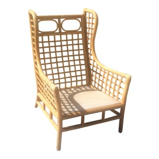 Vintage Rattan Wing Chair