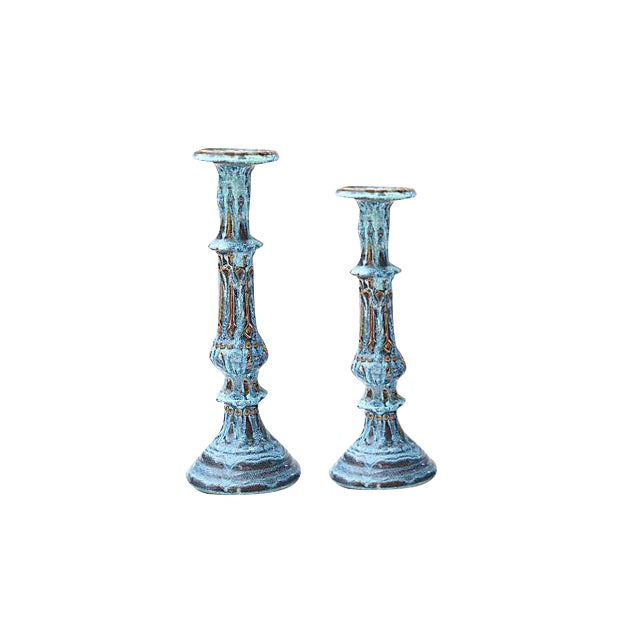 Drip Glaze Candleholders- A Pair - Image 1 of 6
