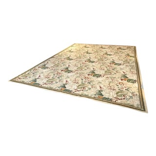 Floral Needlepoint Rug - 10″ × 1′2″