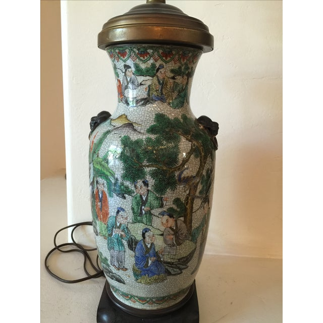 Image of Vintage Asian Table Lamp With Wooden Base