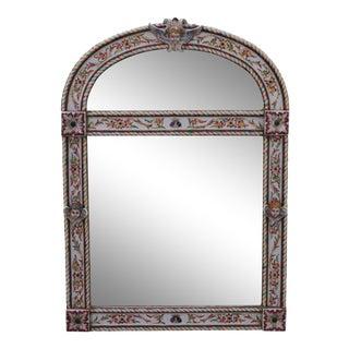 Antique Italian Majolica Porcelain Frame Wall Mirror