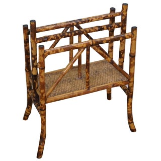 19th-C. Burnt Bamboo Magazine Stand
