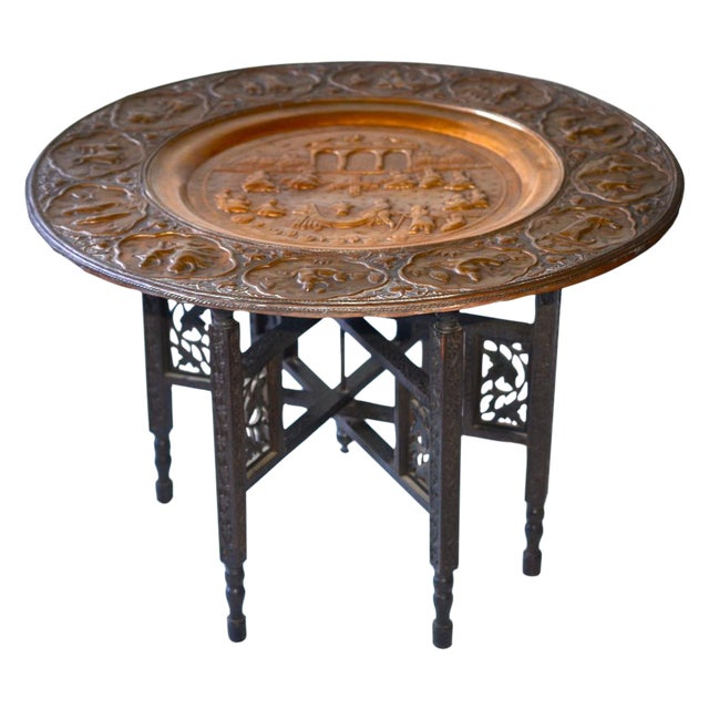 Anglo-Indian Copper Tray Table With Folding Wooden - Image 1 of 6