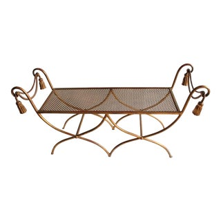 Midcentury Italian Gold Leaf Wrought Iron Bench