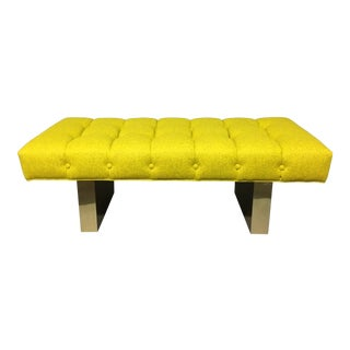Mid-Century Modern Bright Yellow Tufted Bench on Brass Base