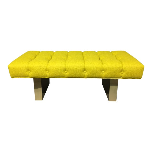 Mid-Century Modern Bright Yellow Tufted Bench on Brass Base - Image 1 of 11