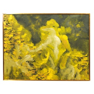 Mid-Century Yellow Abstract Painting