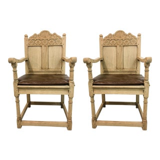 Antique French Bleached Oak Armchairs - A Pair