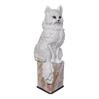 Vintage Italian Hollywood Regency Terra Cotta Cat Garden Sculpture