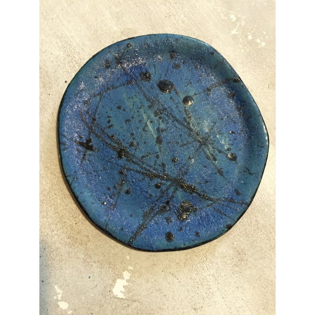 Blue & Black Abstract Plate - Image 2 of 3