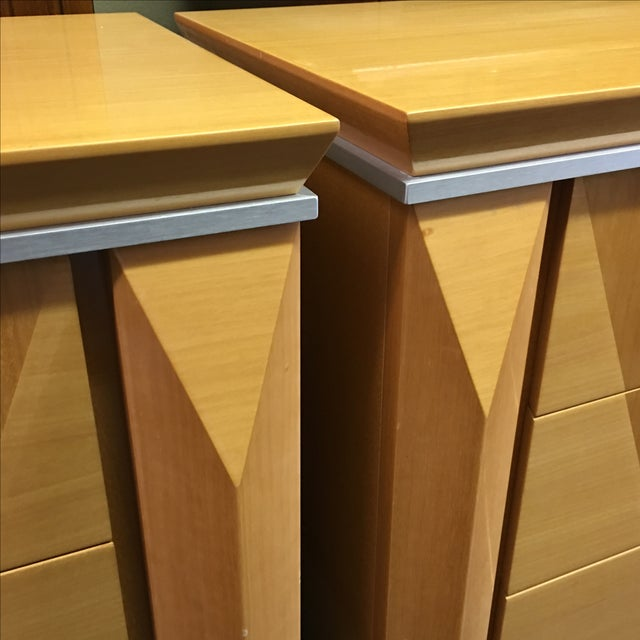 Georgio Collection Parquet Nightstands - A Pair - Image 3 of 7