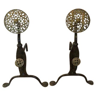 Large Arts and Crafts Andirons and Poker - A Pair