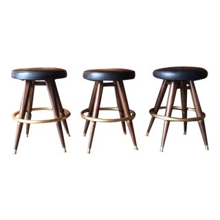 Mid-Century Walnut Black Vinyl Stools - Set of 3