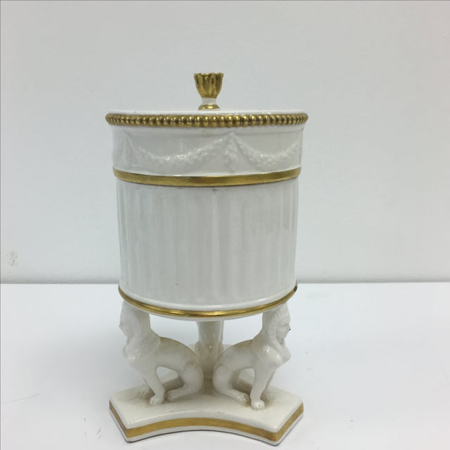 Image of Vintage Mottahedeh Sphinx Canister With Lid